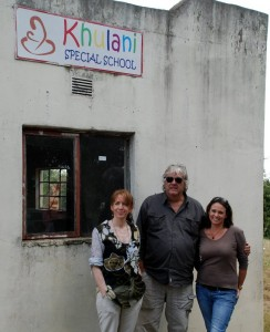 Entrepreneur Rachel Elnaugh, Keith Upton, owner of Nyati Textiles and one of the drivers of the Khulani Project Paula Louw outside the original house used for the children